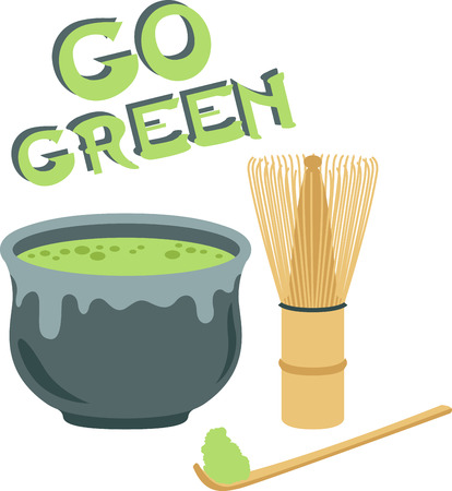 Go green with this Matcha tea set design. This will look great on banners, placemats, tote bags and more. Illustration
