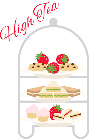 Personalize your project with this yummy tea sandwiches & sweets design. This will look great on banners, placemats, hand towels, tote bags and more. Vector Illustration
