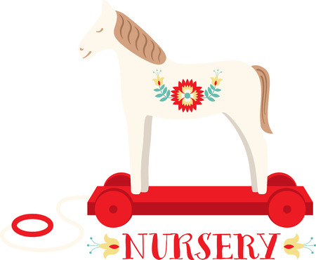 Add a charming new look to your babys nursery with this sweet vintage wooden horse design. Illustration