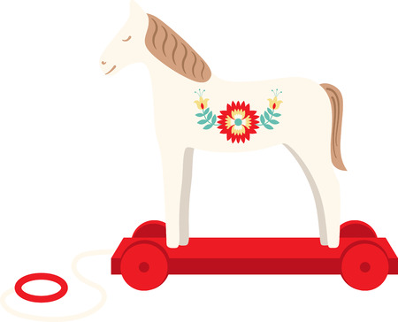Add a charming new look to your babys nursery with this sweet vintage wooden horse design. Ilustracja