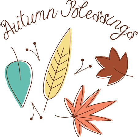 Personalize your seasonal project with this lovely fall leaves design. This will look great on placemats, hand towels, throw pillows, tote bags and more. Illustration