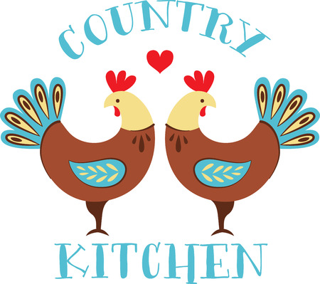 Personalize your project with this lovely country roosters design. This will look great on wall hangings, placemats, hand towels, throw pillows, tote bags and more.