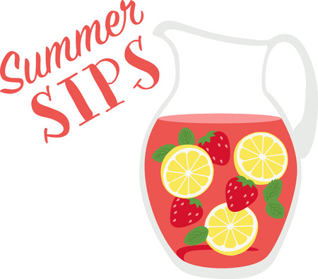 quench: Quench your thirst on a hot day with this refreshing drink. This design is perfect on all your summer celebrations such as kids birthday, baby shower, book club events and more. Illustration