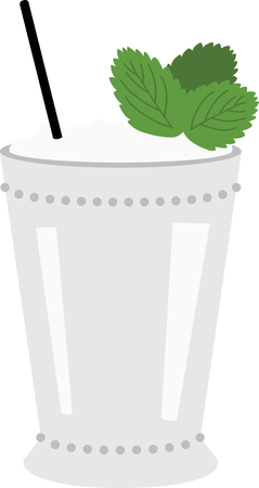 Dust off your Derby hats and turn fresh mint leaves and bourbon into a classic mint julep.  Enjoy this irresistible cocktail cocktail on napkins, kitchen decor and more. Ilustracja