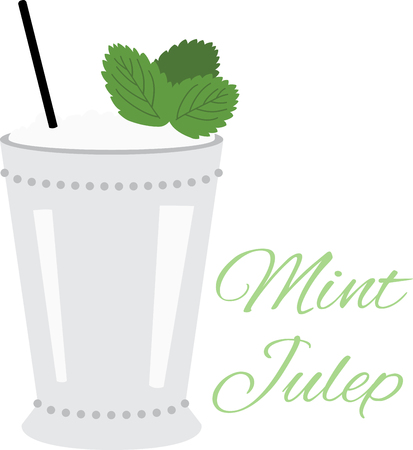Dust off your Derby hats and turn fresh mint leaves and bourbon into a classic mint julep.  Enjoy this irresistible cocktail cocktail on napkins, kitchen decor and more. Illustration