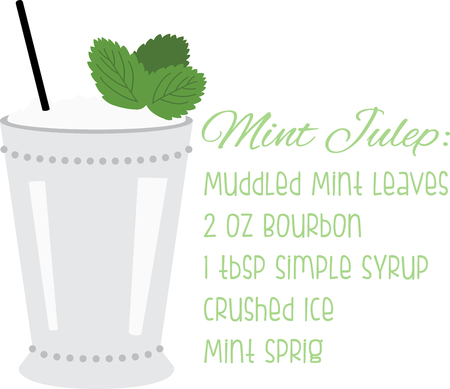 irresistible: Dust off your Derby hats and turn fresh mint leaves and bourbon into a classic mint julep.  Enjoy this irresistible cocktail cocktail on napkins, kitchen decor and more. Illustration