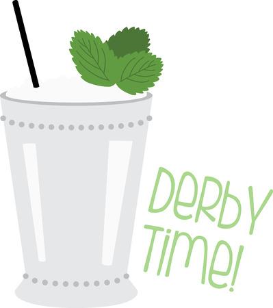ダービーの帽子をほこりし、古典的なミント ・ ジュレップに新鮮なミントの葉、バーボンを回します。 この魅力的なカクテル カクテル ナプキン、