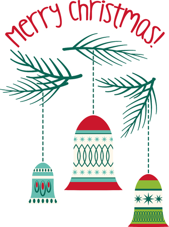 a bough: Conjure up the magic and excitement of Christmas with this design on kitchen linen, pillows, wall hangings, totes and more! Illustration