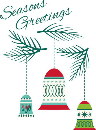 pine boughs: Conjure up the magic and excitement of Christmas with this design on kitchen linen, pillows, wall hangings, totes and more! Illustration