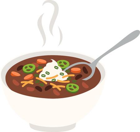 Eine Schale voll von heißen, prickelnden Chili ist einfach, herzhaft, und nährt die Seele. Machen Sie Ihre Küche umso mehr gemütlich mit diesem Entwurf auf gerahmte Stickerei, Küchentücher und vieles mehr! Standard-Bild - 64677561