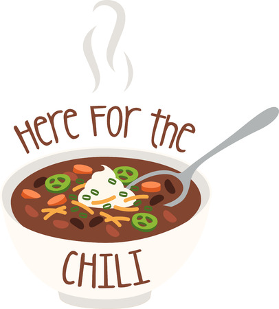 hearty: A bowlful of steamy hot chili is simple, hearty, and feeds the soul.  Make your kitchen all the more cozy with this design on framed embroidery, kitchen linen and more!