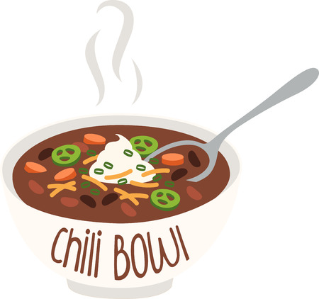 flatwares: A bowlful of steamy hot chili is simple, hearty, and feeds the soul.  Make your kitchen all the more cozy with this design on framed embroidery, kitchen linen and more!