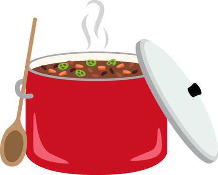 Un bol de chili dans l'eau chaude est simple, chaleureux, et nourrit l'âme. Faites votre cuisine d'autant plus confortable avec cette conception sur la broderie encadrée, linge de cuisine et plus encore! Banque d'images - 64677566
