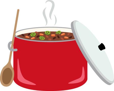 Un tazón de chile calientes y estimulantes es simple, abundante, y alimenta el alma. Hacer de su cocina aún más acogedor con este diseño en bordado enmarcado, ropa de cocina y mucho más!