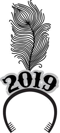 cintillos: Brindis por la buena salud y alegría! Recibe el Año Nuevo con este diseño perfectos en servilletas de papel personalizados y regalos para sus seres queridos! Vectores