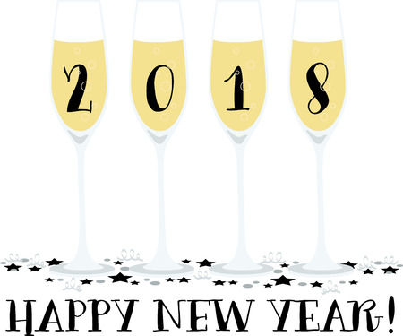 Toast to good health and cheer! Ring in the New Year with this perfect design on cocktail napkins and personalized gifts for loved ones! 일러스트