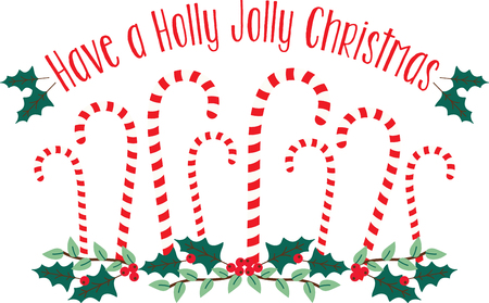 Star dust, holly boughs and candy cane.  Send tidings of sweetness and peace with this design on your Christmas projects!