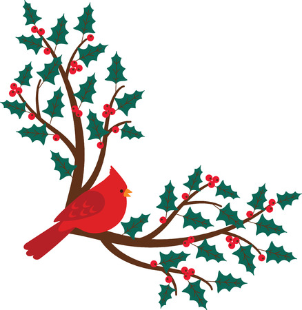ilex: Bring these bright red cardinals home to roost and add a touch of color to your indoor wintry decorations with this design on your holiday projects! Illustration
