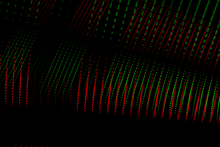 Abstract lines of bright colors formed by numerous points together. Abstract art on black background. Resource for designers. Futuristic technology concept. Stock Photo