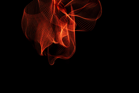 3d illustration. Three-dimensional shape of reddish colors created with long exposure photography. Futuristic three-dimensional effect on black background. Resource for designers. Stock Photo