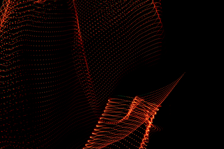 3d illustration. Three-dimensional shapes made with light. Corporal images of reddish color on a black background. Free space to write.