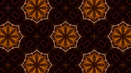Circular futuristic abstract shapes of golden colors. Computer generated circular patterns. Images from outside this world.