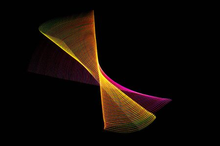 Illustration 3 d. Lights forming abstract patterns on black background. Resource for designers. Futuristic multicolored pattern Banco de Imagens