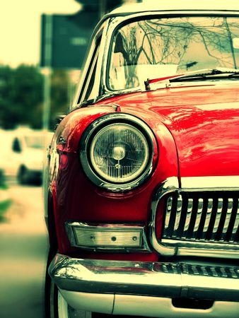 russian car: Red car-vintage, retro, russian car.