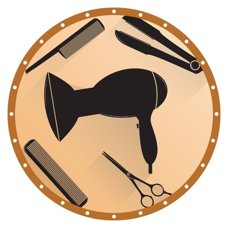 hairspray: Barber shop icon set. Hairdresser set in black.