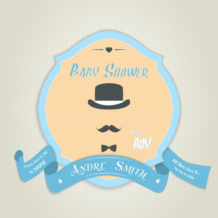 Baby shower invitation with gentleman with bow tie, hat and mustache. Made in vector illustration