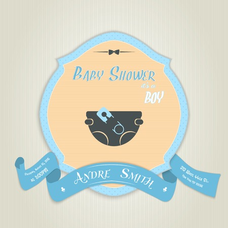 diaper pin: Baby shower invitation with diaper and pin. Made in vector illustration