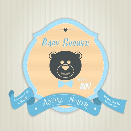 baby bear: Baby shower invitation with teddy bear toy. Made in vector illustration