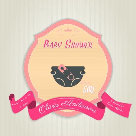 diaper pin: Baby shower invitation with diaper and pin.
