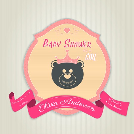 baby bear: Baby shower invitation with teddy bear toy.  Illustration