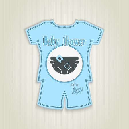 diaper pin: Card in the form of clothing. Baby shower invitation with diaper and pin.