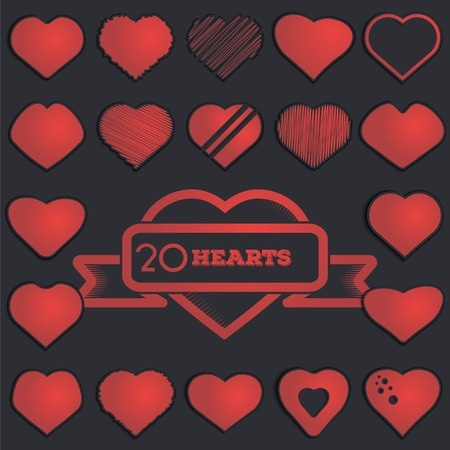 sentiment: Red love hearts set. Paper with shadow. Made vector illustration