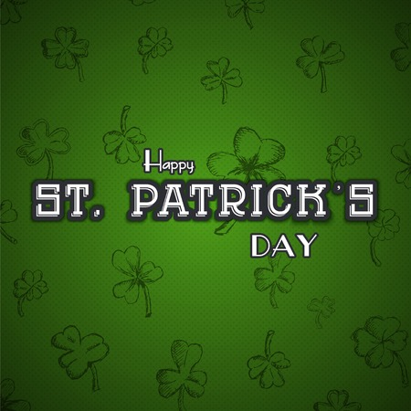 leafed: Saint Patricks Day. Irish holiday. Label or card. Flat vector illustration Illustration
