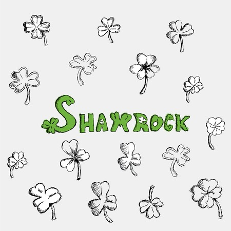 celtic shamrock: Sketch shamrock. Saint Patricks Day. Irish holiday. Flat vector illustration