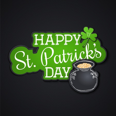 leafed: Saint Patricks Day. Irish holiday. Label or card paper. Flat vector illustration Illustration