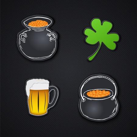 Set of icons. Saint Patricks Day. Irish holiday. Label or card paper.