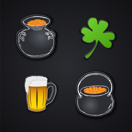 leafed: Set of icons. Saint Patricks Day. Irish holiday. Label or card paper.