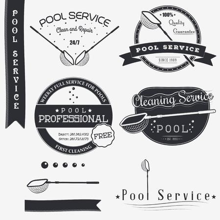personal de limpieza: Servicio Pool. Limpiar y reparar. Conjunto de elementos de dise�o tipogr�fico Insignias, Designers Toolkit. Ilustraci�n vectorial Flat