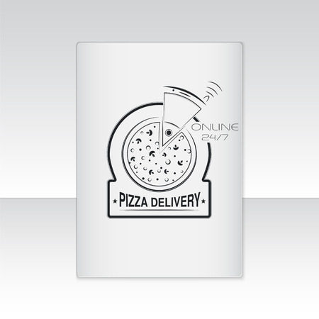 Pizza delivery. The food and service. Label or card paper. Set of Typographic Badges Design Elements, Designers Toolkit. Flat vector illustration Vector