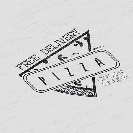 toolkit: Pizza delivery. The food and service. Grunge Effect. Set of Typographic Badges Design Elements, Designers Toolkit. Flat vector illustration