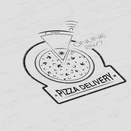 Pizza delivery. The food and service. Grunge Effect. Set of Typographic Badges Design Elements, Designers Toolkit. Flat vector illustration Vector