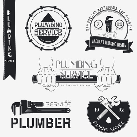 plumbing tools: Plumbing service. Home repairs. Repair and maintenance of buildings. Set of Typographic Badges Design Elements, Designers Toolkit. Flat vector illustration