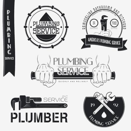 Plumbing service. Home repairs. Repair and maintenance of buildings. Set of Typographic Badges Design Elements, Designers Toolkit. Flat vector illustration