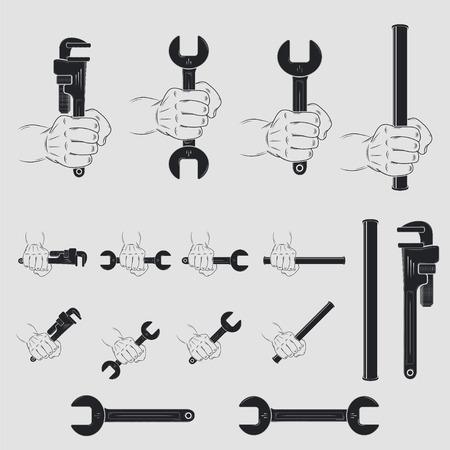 Iconen van de tools voor het sanitair. Thuis reparaties. Reparatie en onderhoud van gebouwen. Set van typografische Badges. Platte vector illustratie