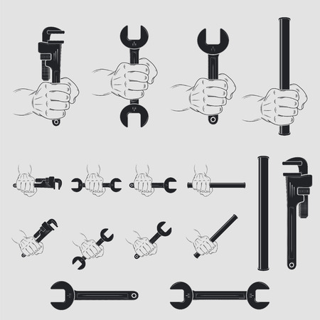 Icons of tools for plumbing. Home repairs. Repair and maintenance of buildings. Set of Typographic Badges. Flat vector illustration