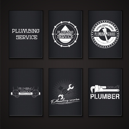 home repairs: Plumbing service. Home repairs. Repair and maintenance of buildings. Grunge Effect. Set of Typographic Badges. Flat vector illustration